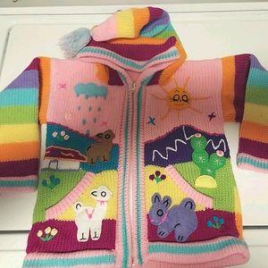 Girls sweater size 6 rainbow lama bunny cactus